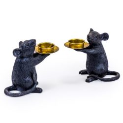 Black Mouse candle holders