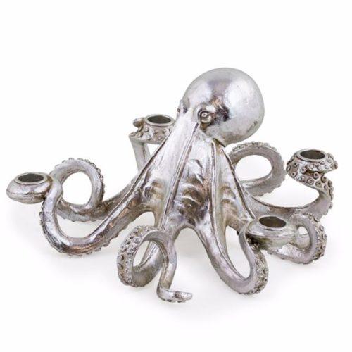 Silver Octopus Candlestick